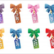 Sales tag with gift bow  Vector illustration — Imagens vectoriais em stock