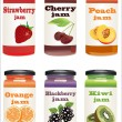 Set from jars with fruit and berry jam — Stock Vector