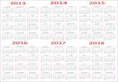 Basic Calendar, 2013, 2014, 2015, 2016, 2017, 2018 — Stock Vector