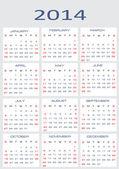 Vector calendar for 2014 — Stock Vector