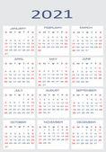 Vector calendar for 2021 — Stock Vector