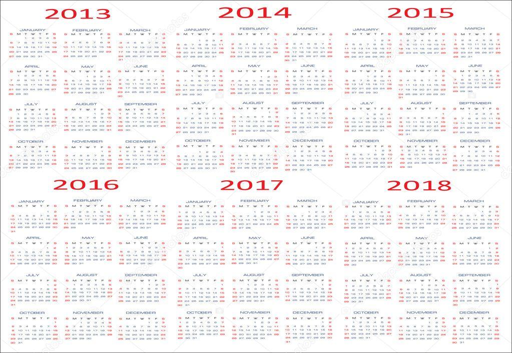 Basic Calendar, 2013, 2014, 2015, 2016, 2017, 2018 — Stock Vector ...