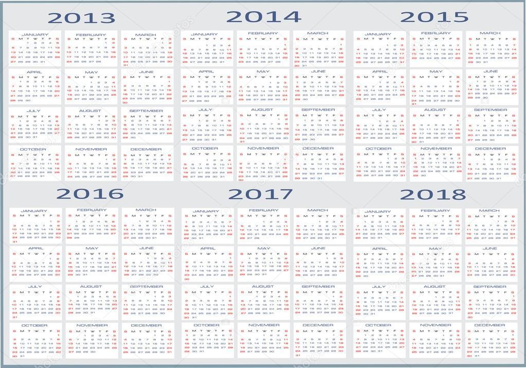 Calendar for 2014 2015 2016
