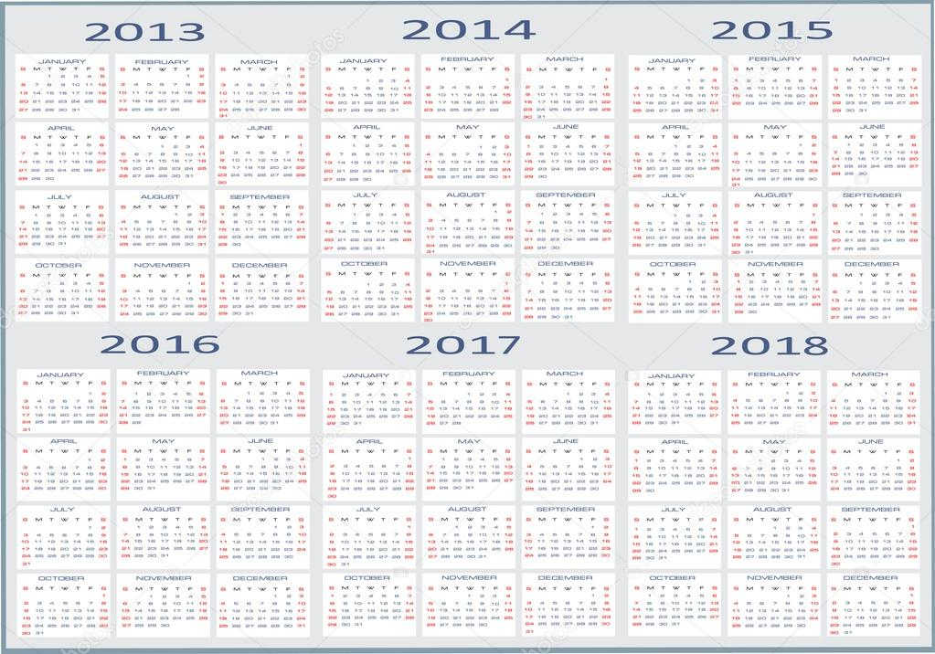 Einfache Kalender 2013, 2014,