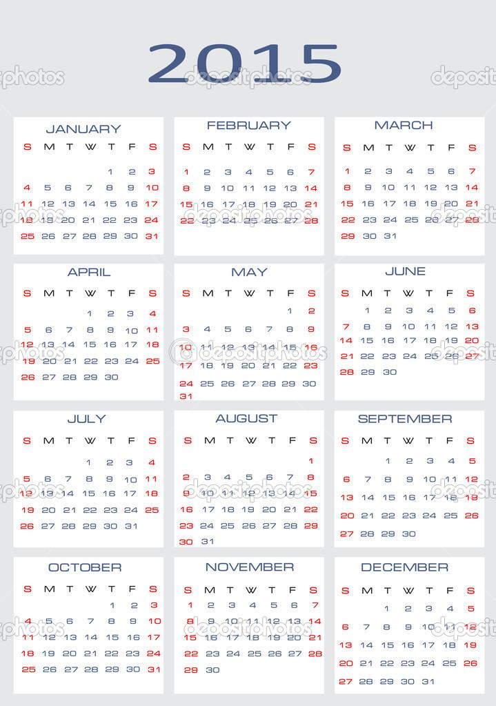 2015 年矢量日历