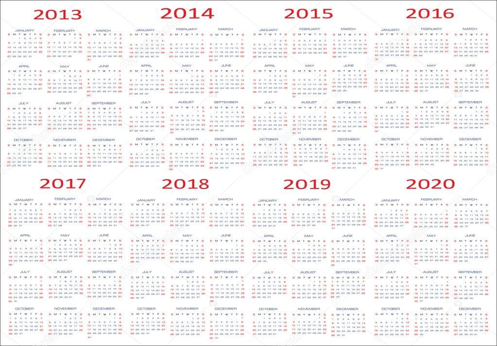 Printable Calendars 2016 To 2019 | Calendar Template 2016