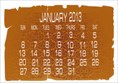 Calendar January 2013 — Stock Vector