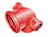 Red plumbing pipe — Stock Vector