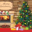 Christmas scene with tree gifts and fire in background — Stock Vector