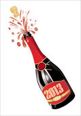 Uncorked Champagne Bottle 2013. Vector illustration. — Stock Vector
