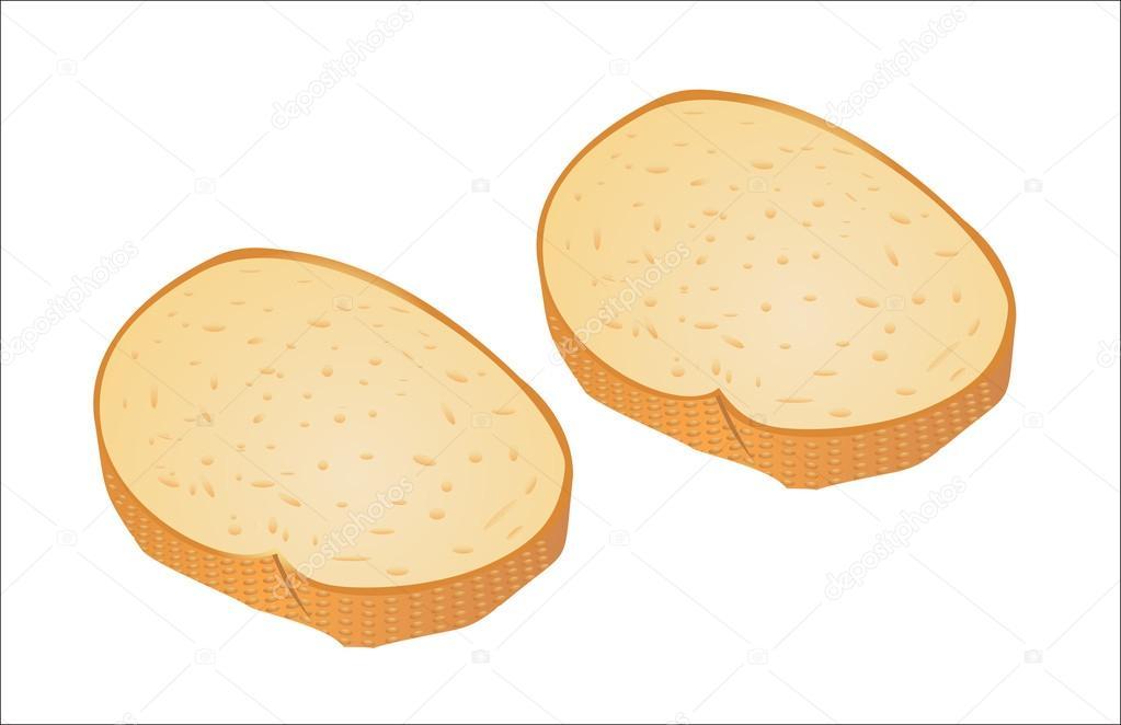 面包切片上白色隔离