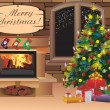 Christmas scene with tree gifts and fire in background — Imagens vectoriais em stock