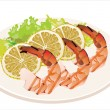 Stock Vector: Fresh grilled shrimps with lemon on white plate