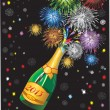 Stock Vector: Beautiful Vector uncorked champagne bottle fireworks, on black background.