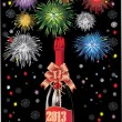 Beautiful Vector Bottle of Champagne in 2013 and fireworks, on a black background. — Stock Vector #16771767