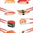 Sushi with chopsticks isolated over white background — Stock Vector