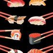 Sushi with chopsticks isolated over black background — Stock Vector