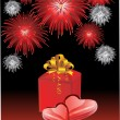 Festive background for Valentine's Day with two hearts and a gift — Imagens vectoriais em stock