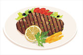 Grilled steak, French fries and vegetables — Stock Vector