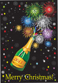 Beautiful Vector uncorked champagne bottle fireworks, on a black background. — Stock Vector