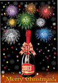Beautiful Vector Bottle of Champagne in 2013 and fireworks, on a black background. — Stock Vector