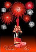 İki kupa ve şampanya ile Sevgililer günü için Festival arka plan — Stok Vektör