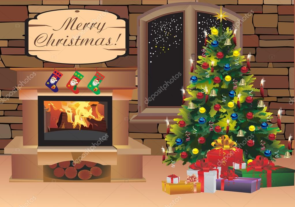 Christmas scene with tree gifts and fire in background  Stock Vector #16771377