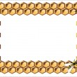 Stock Vector: Background with bees, and honeycomb