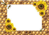 Background with bees, and honeycomb — Vector de stock