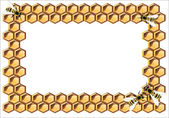 Background with bees, and honeycomb — 图库矢量图片
