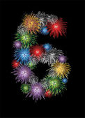 Number six made from colorful in the form of fireworks numbers - check my portfolio for other numbers — Stock Vector