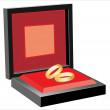Wedding rings in red box on white background — Stock Vector #19239421