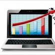 Profit concept, red arrow and business growth chart isolated on a white background - Imagens vectoriais em stock