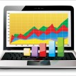 Stock Vector: Laptop showing spreadsheet with some 3d charts over it