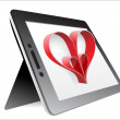 Valentine's Day Concept. Tablet PC Isolated on White Background. Vector — Stock Vector