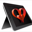 Valentine's Day Concept. Tablet PC Isolated on White Background. — Stock Vector