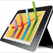 Computer tablet showing spreadsheet with some 3d charts over it — Vecteur #19239603