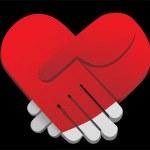 Red palms handshake heart shaped vector illustration — Stock Vector