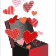 Red hearts coming out from gift box. — Stock Vector