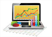 Laptop showing a spreadsheet with some 3d charts over it — Stock Vector