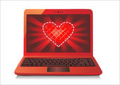Heart Concept. Laptop on white Background. Vector. — Stock Vector