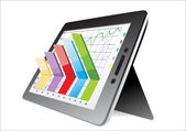 Computer tablet showing a spreadsheet with some 3d charts over it — Stock Vector