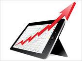 Illustrazione vettoriale di elegante tablet pc con il concetto di business — Vettoriale Stock