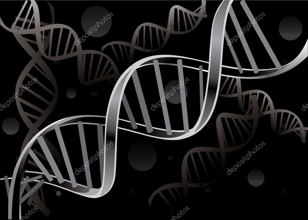 Dna Vector Black Dna Strand Isolated on Black