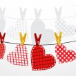 Paper hearts hanging from a rope. Part of Valentines day set. Vector. — Stock Vector