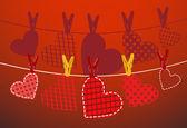 Corazones de papel colgando de una cuerda. parte del conjunto de día de san valentín. vector. — Vector de stock