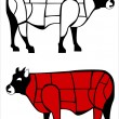 Cuts of beef — Stock Vector