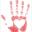 Hand prints heart - Stock Vector