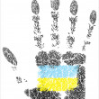 Hand prints flag of Ukraine — Stock Vector