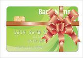 信用卡作为礼物的红丝带 — 图库矢量图片